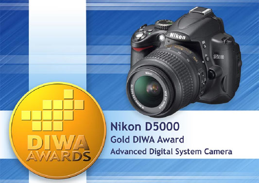 Nikon D5000 Digital SLR Camera Recipient of Gold DIWA Award