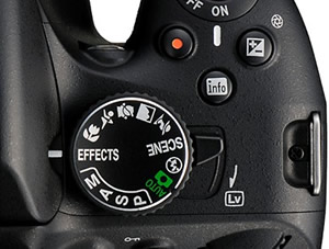 Mode dial, live view switch image(s)